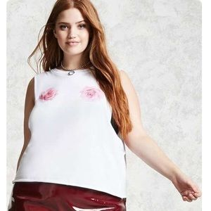 PLUS SIZE muscle tee Roses white pink RANK TOP OX